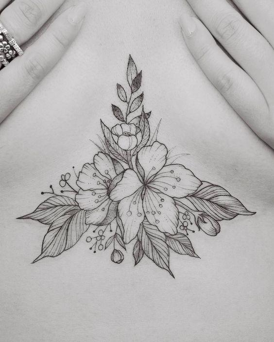 Floral Sternum Tattoo