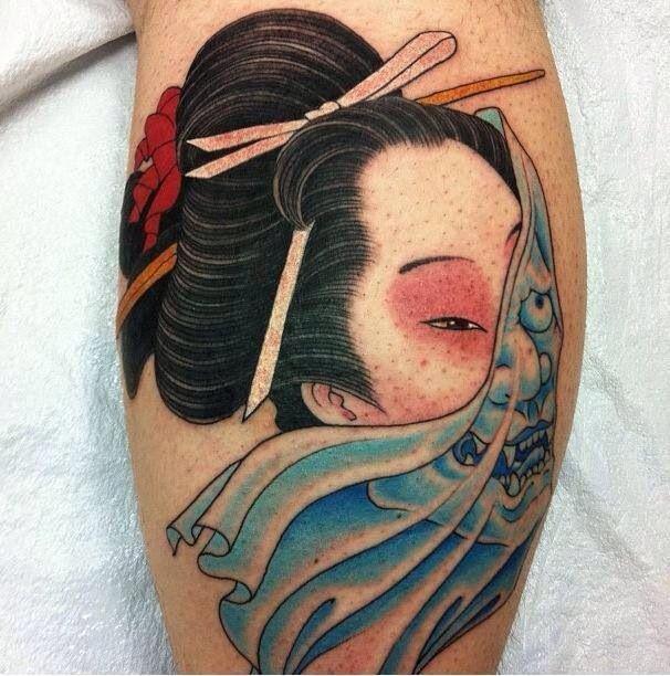 Hannya Mask Girl Tattoo: 45+ Oni Mask Tattoo Designs And Ideas