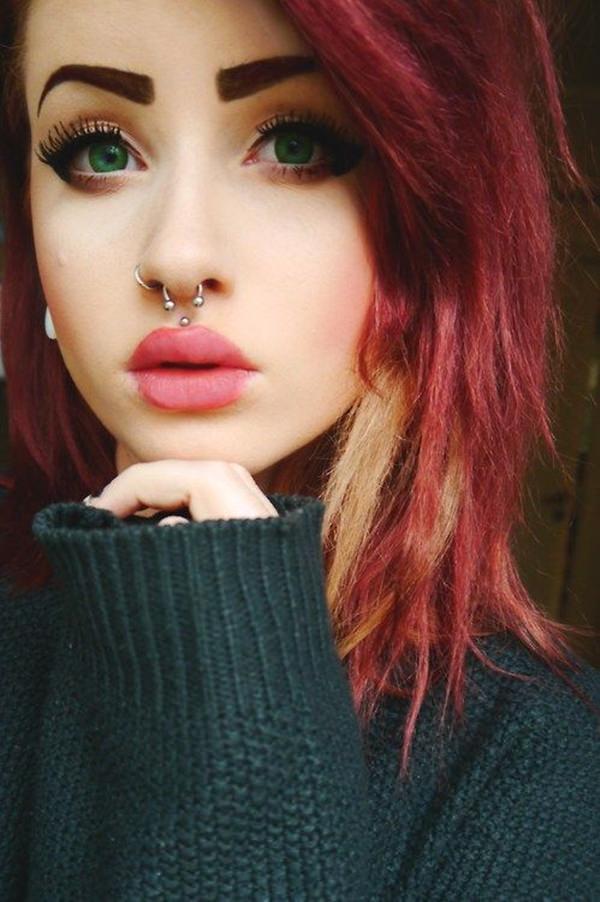 girl with medusa piercing