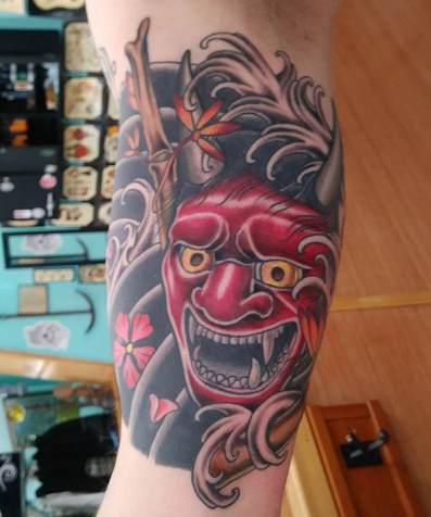 Arm Tattoo Oni Mask Japanese