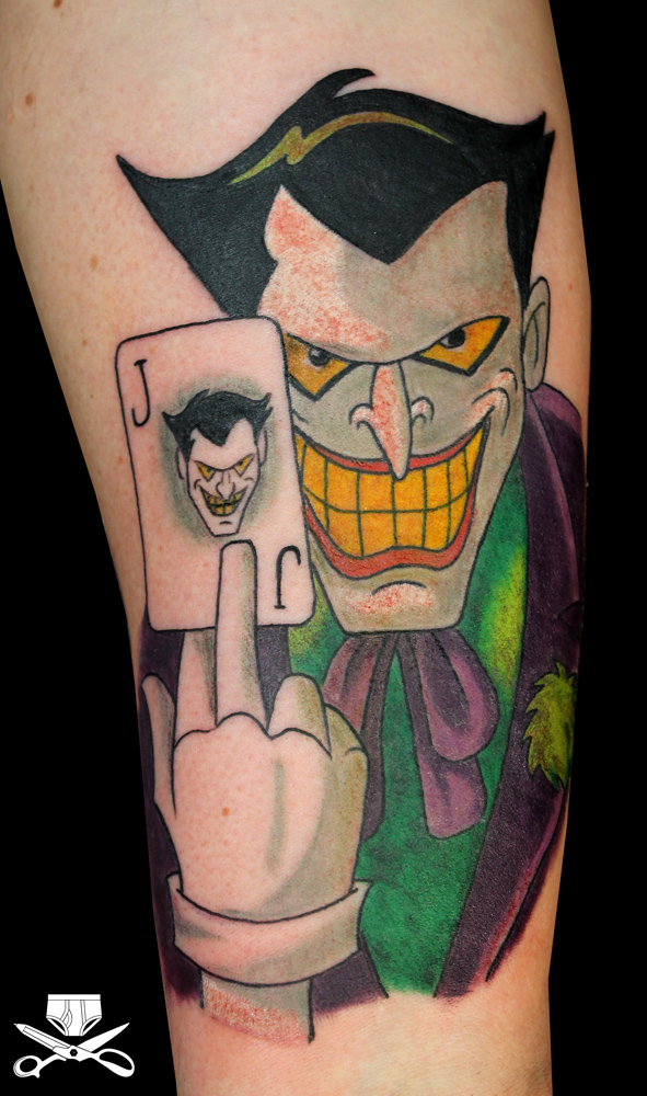 Cartoon Joker Arm Tattoo