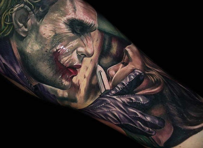 Colored Joker Arm Tattoo