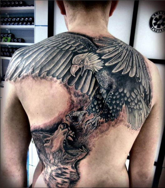eagle fighting a wolf tattoo