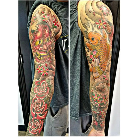Full Sleeve Oni Mask Tattoo