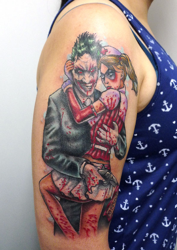 Joker and Harley Quinn Arm Tattoo
