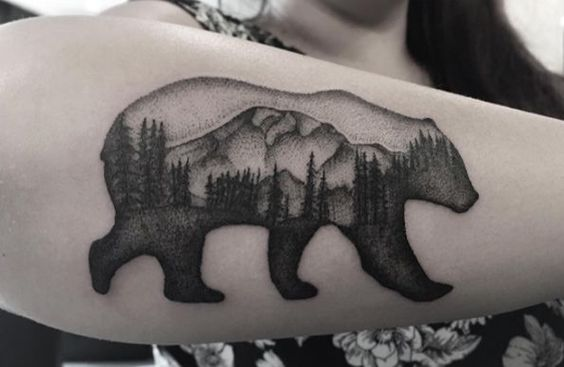 Bear and forest Tattoo