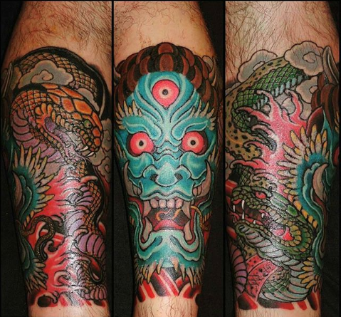 Leg Oni Mask Tattoo