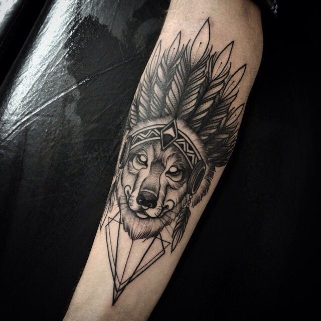Native American Wolf Arm Tattoo