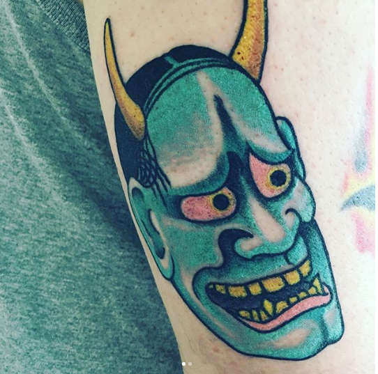 Oni Mask Arm Tattoo