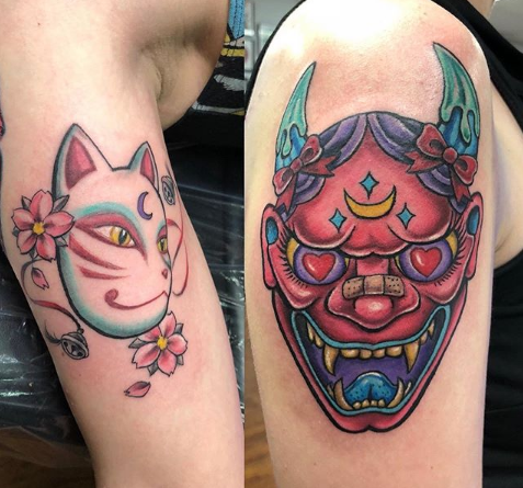 Oni Mask Tattoo Arms