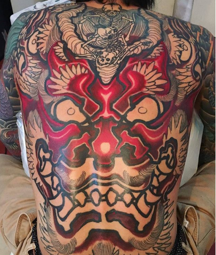 Oni Mask Tattoo Back