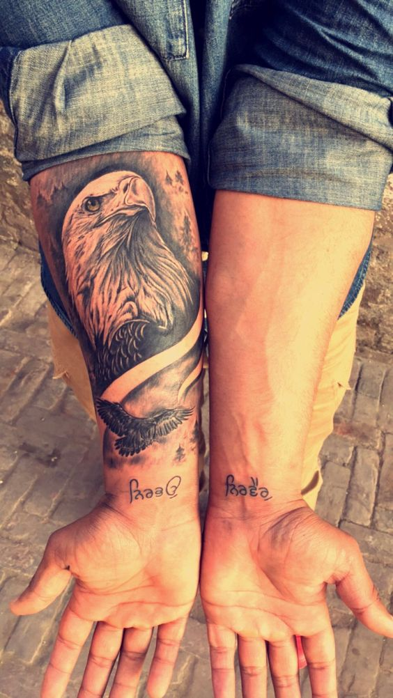 Forearm realistic eagle tattoo