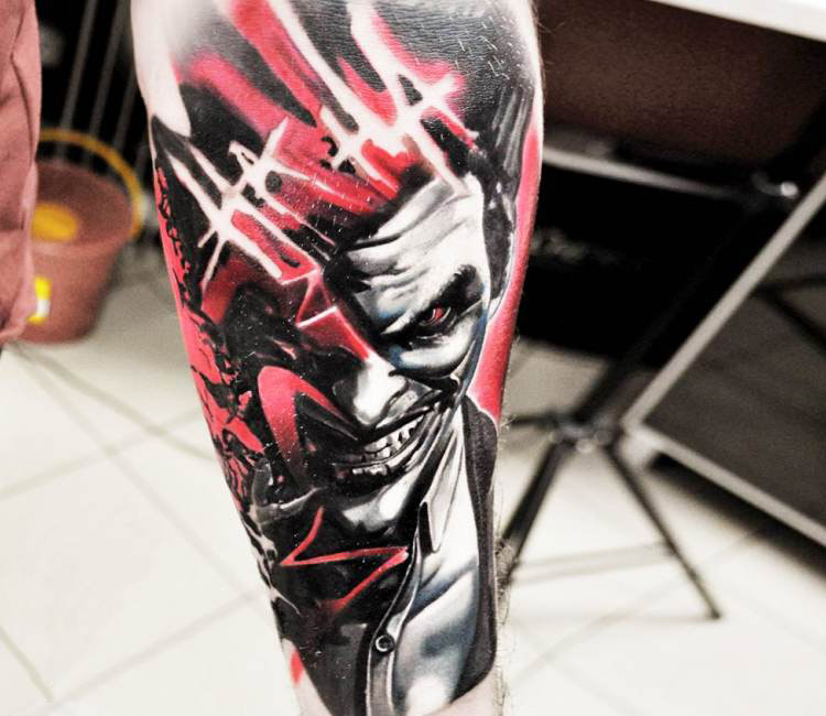 Red Joker Arm Tattoo