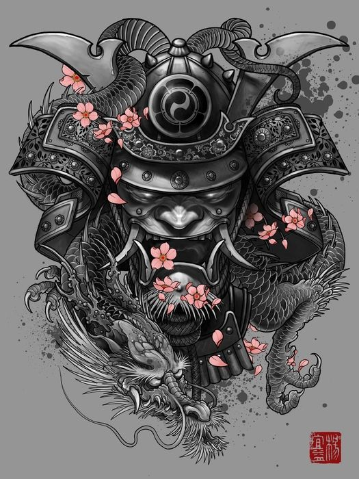 Oni Mask Tattoo Design