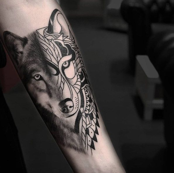 Tribal Wolf Arm Tattoo 5