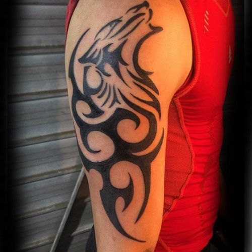 Tribal Wolf Arm Tattoo 7
