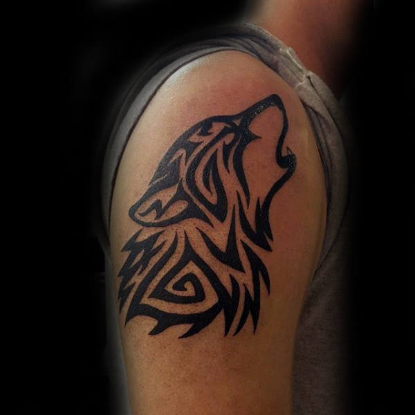 Tribal Wolf Arm Tattoo