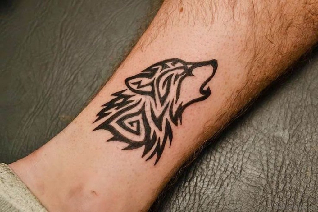 Tribal Wolf Ankle Tattoo