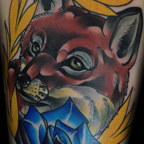 close up fox tattoo