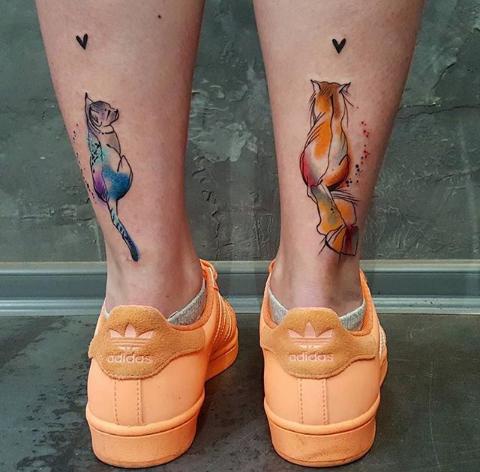cute colorful fox tattoos