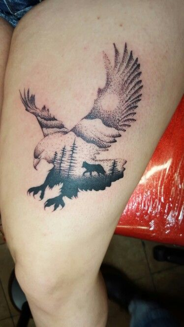 eagle tattoo with double exposure