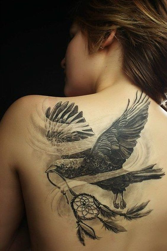Eagle tattoo with dreamcatcher