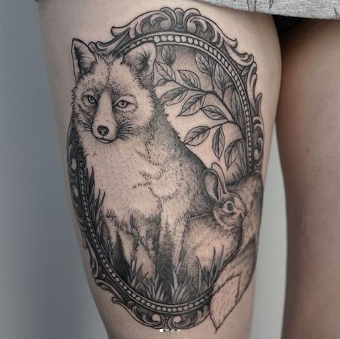 fox and rabbit tattoo