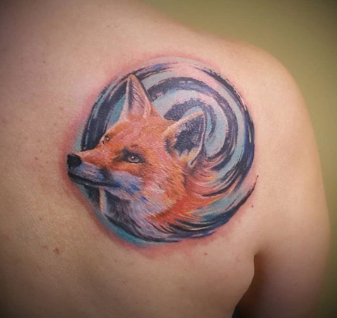 fox with watercolor tattoo