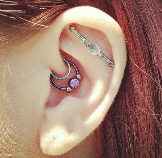 girl industrial piercing