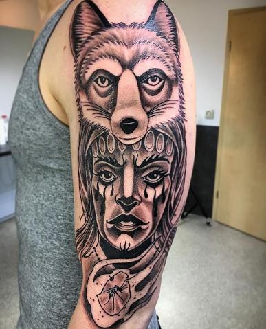 half sleeve fox tattoo