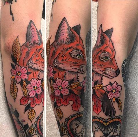 intricate fox tattoo