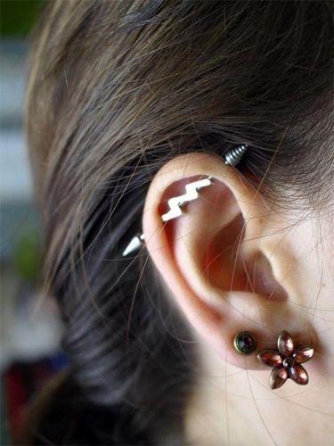lightning earring industrial piercing