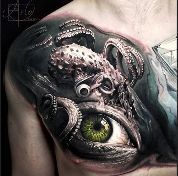 Octopus & Eye Tattoo