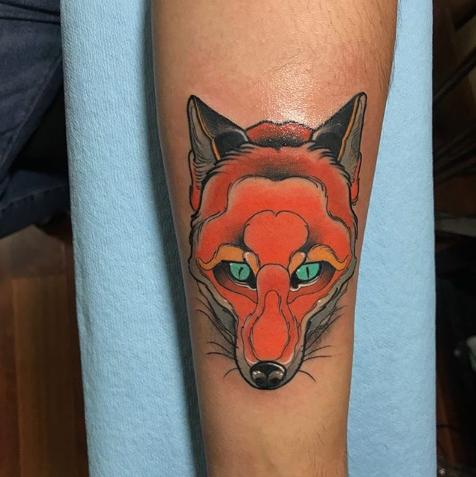 orange fox tattoo