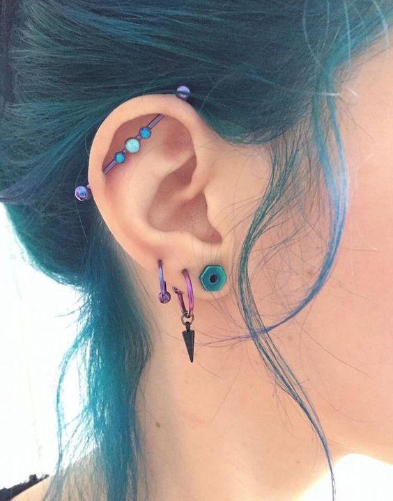 purple industrial piercing