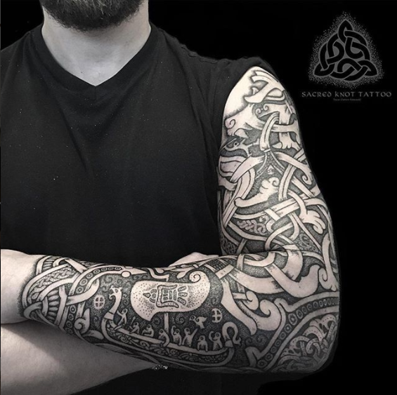 Viking Pattern Sleeve Tattoo