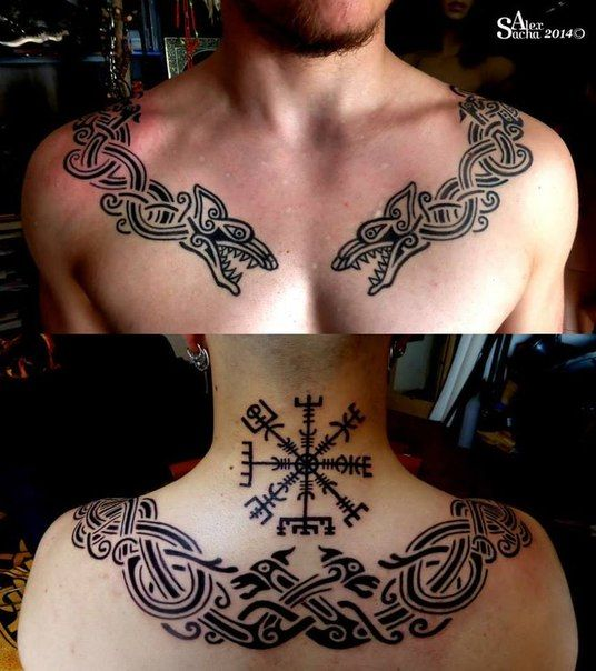 Viking Snake & Compass Tattoo