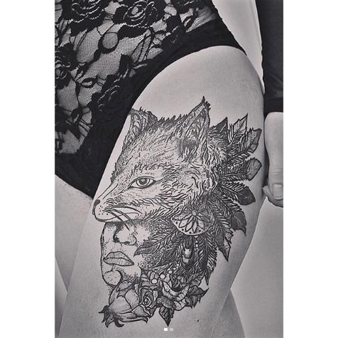 stunning fox tattoo