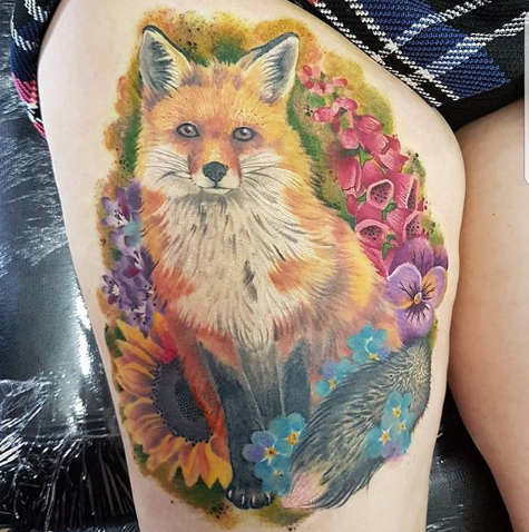 thigh fox tattoo