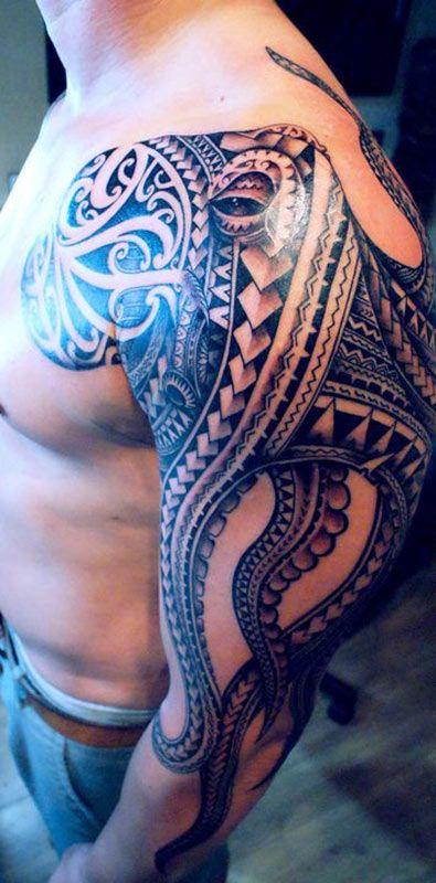 tribal octopus tattoo
