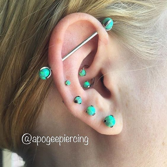 turquoise industrial piercing