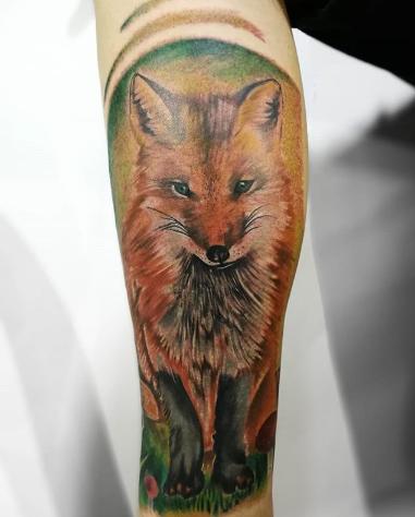wrap around arm fox tattoo