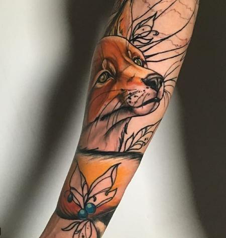 wrap around fox tattoo colored