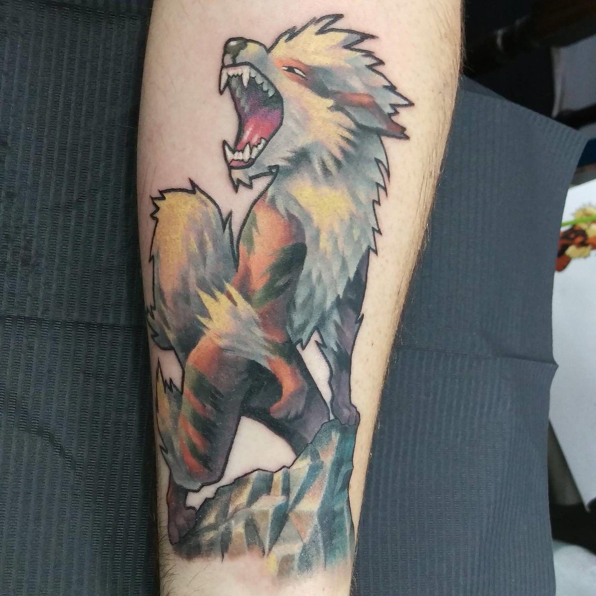 Arcanine Leg Tattoo