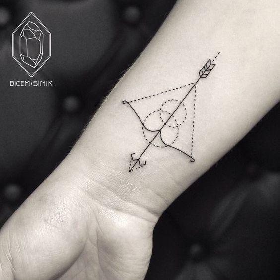 Artsy Bow And Arrow Wrist Tattoo