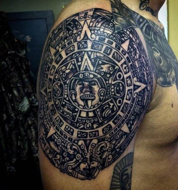 Aztec Calendar Shoulder Tattoo 2