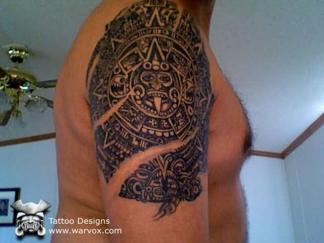 Aztec Calendar Sleeve Tattoo