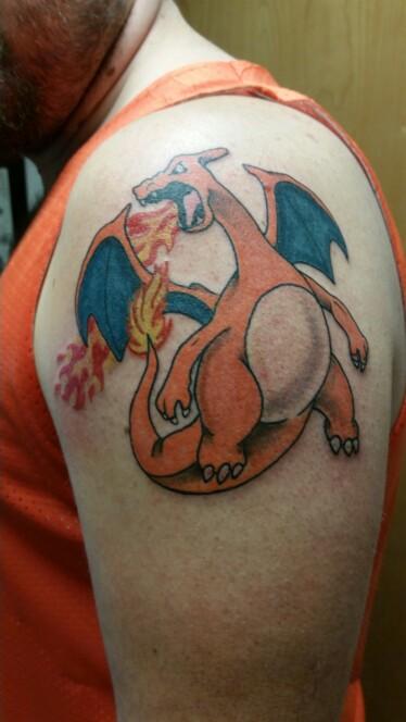 Charizard Shoulder Tattoo