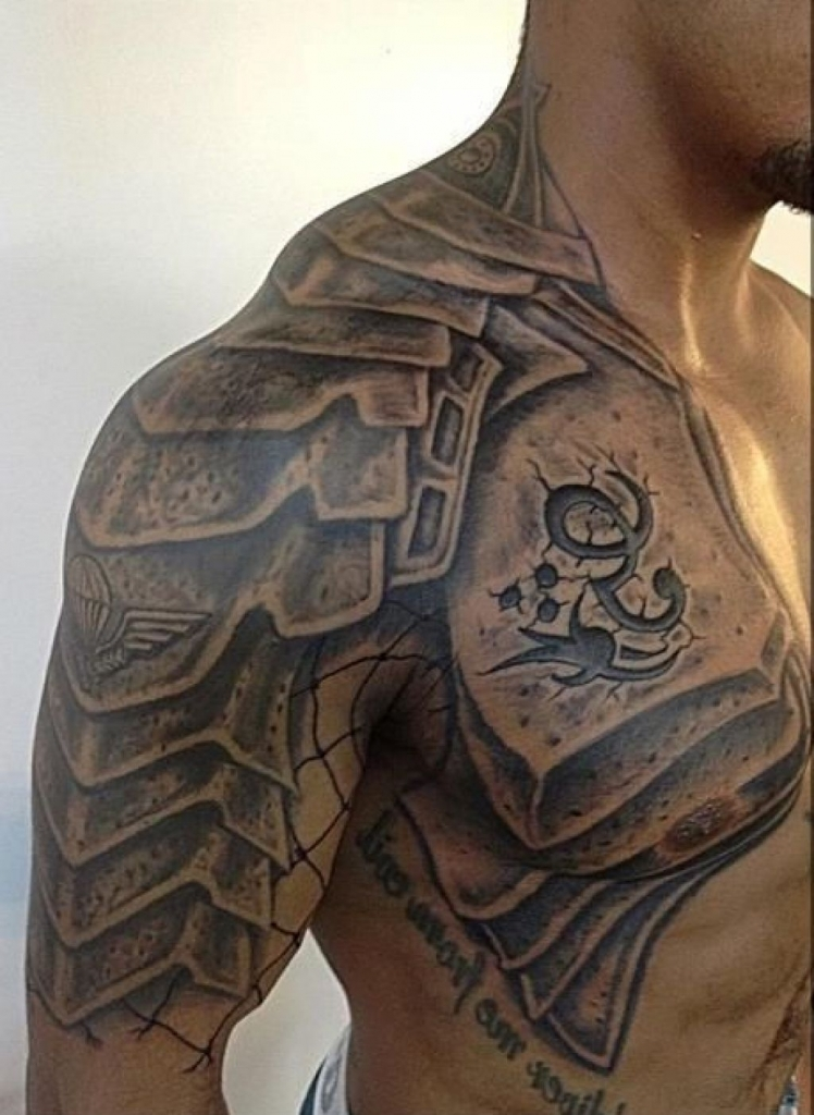 Chestplate scale tattoo