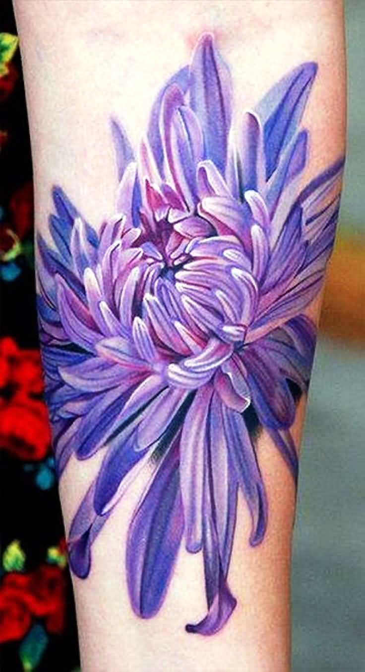 Chrysanthemum Purple Arm Tattoo